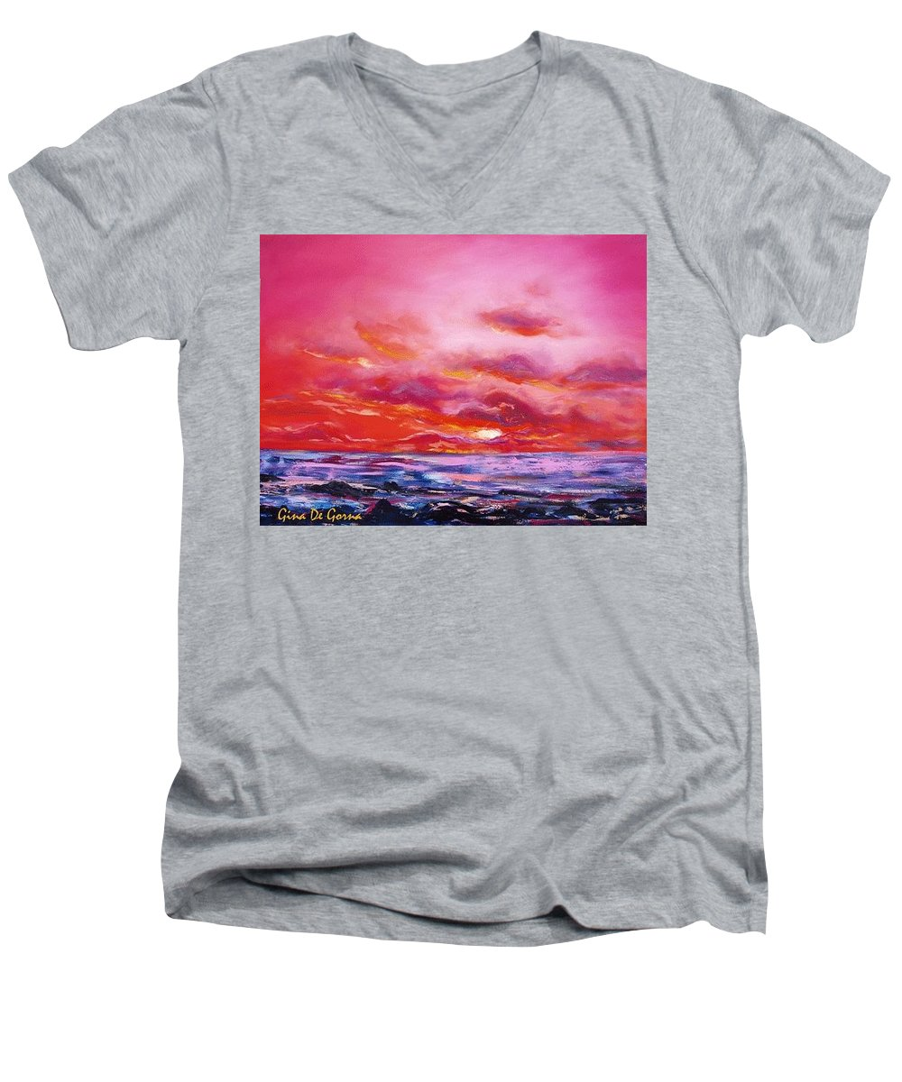 Red Men's V-Neck T-Shirt featuring the painting Red Sunset by Gina De Gorna