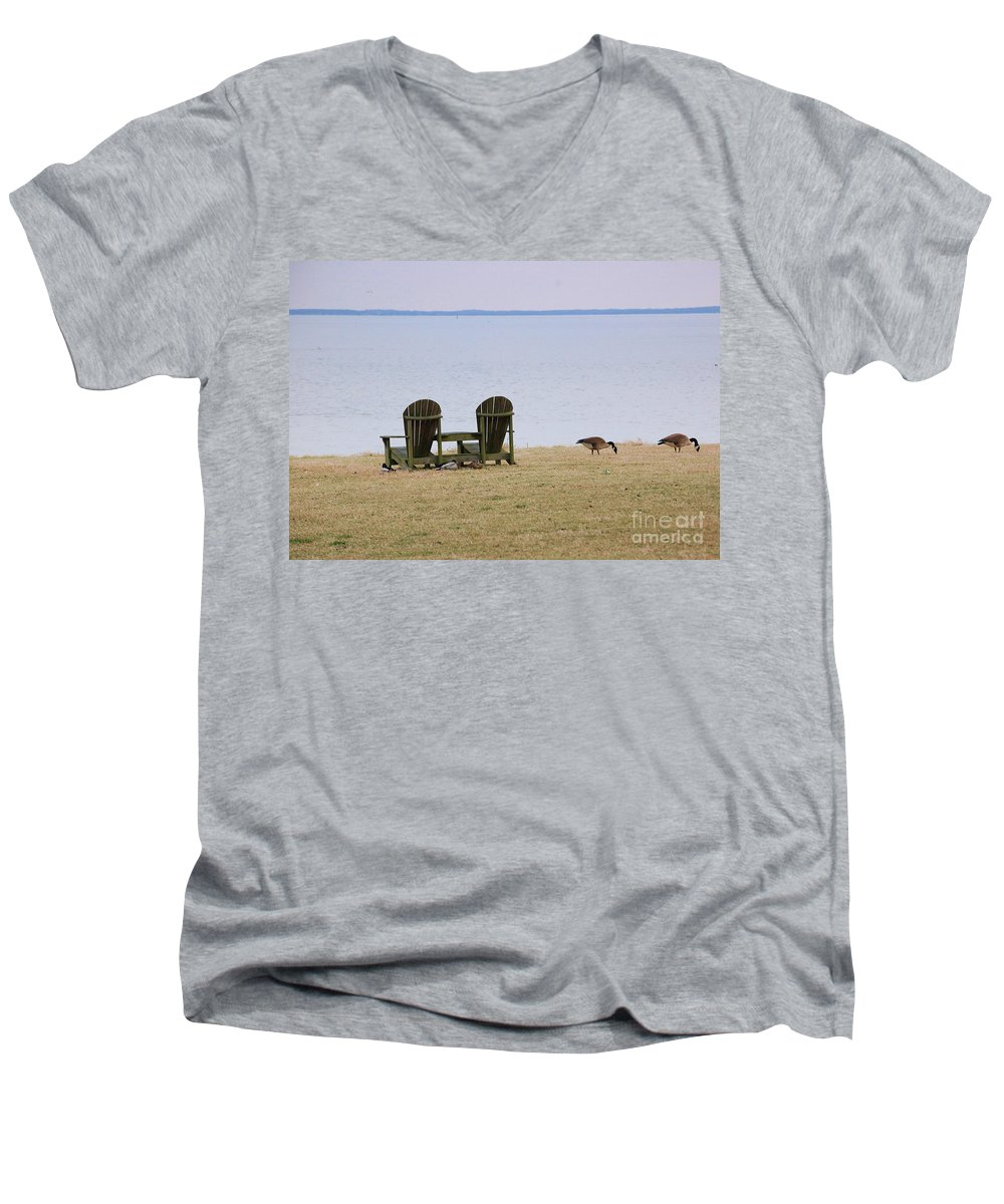 Chairs Men's V-Neck T-Shirt featuring the photograph Relax by Debbi Granruth