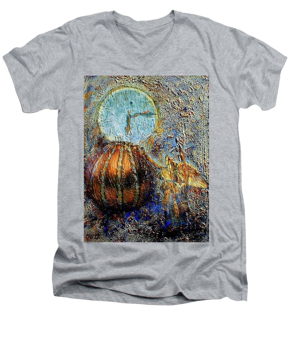 Christian Men's V-Neck T-Shirt featuring the mixed media Revelation by Gail Kirtz