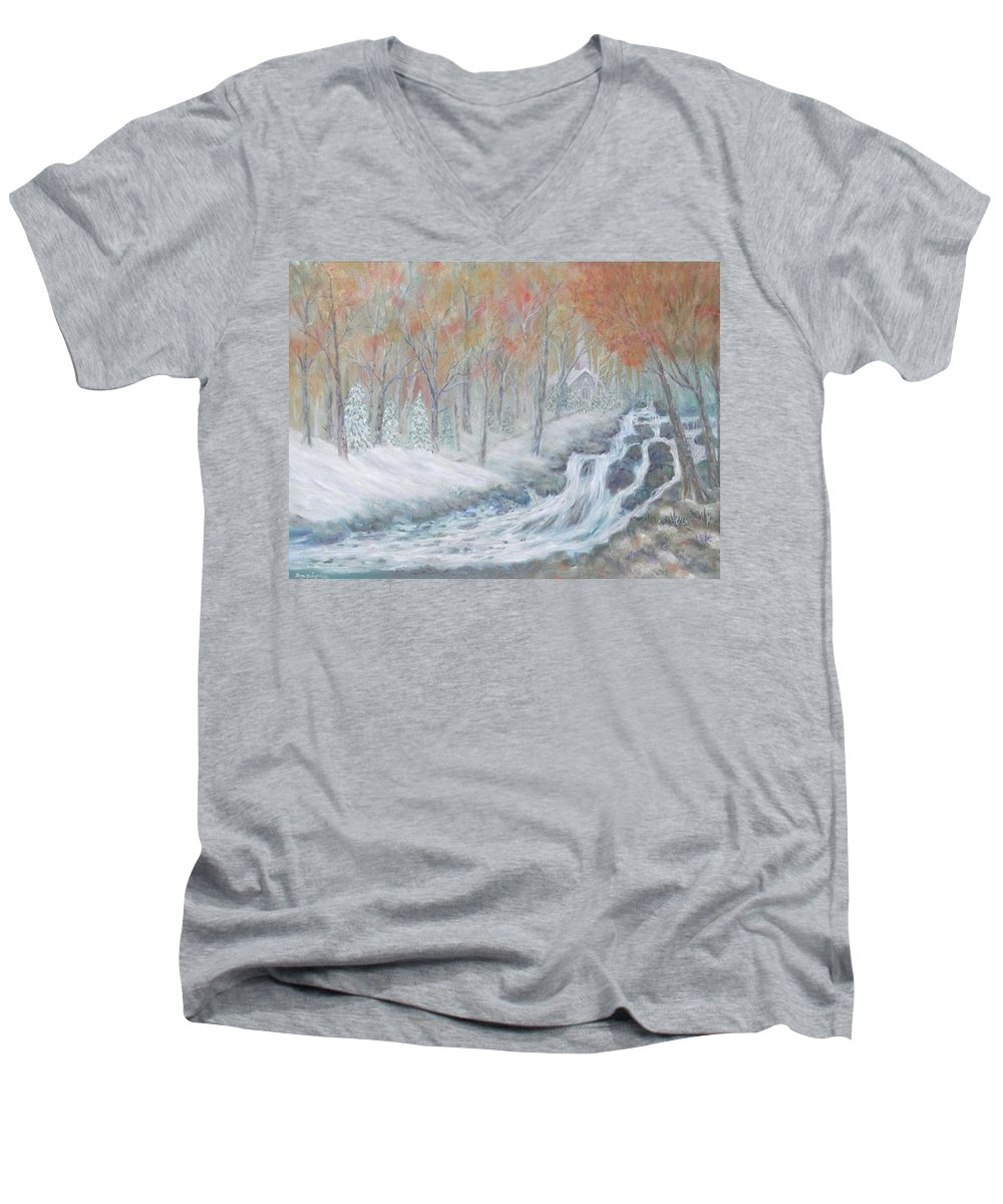 Snow; Landscape; Church Men's V-Neck T-Shirt featuring the painting Reverence by Ben Kiger