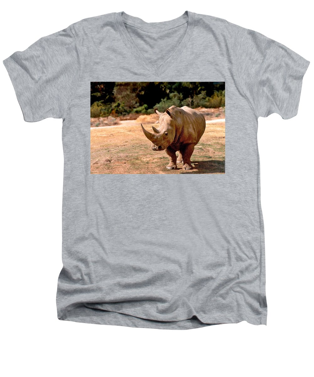 Animal Men's V-Neck T-Shirt featuring the painting Rhino by Steve Karol