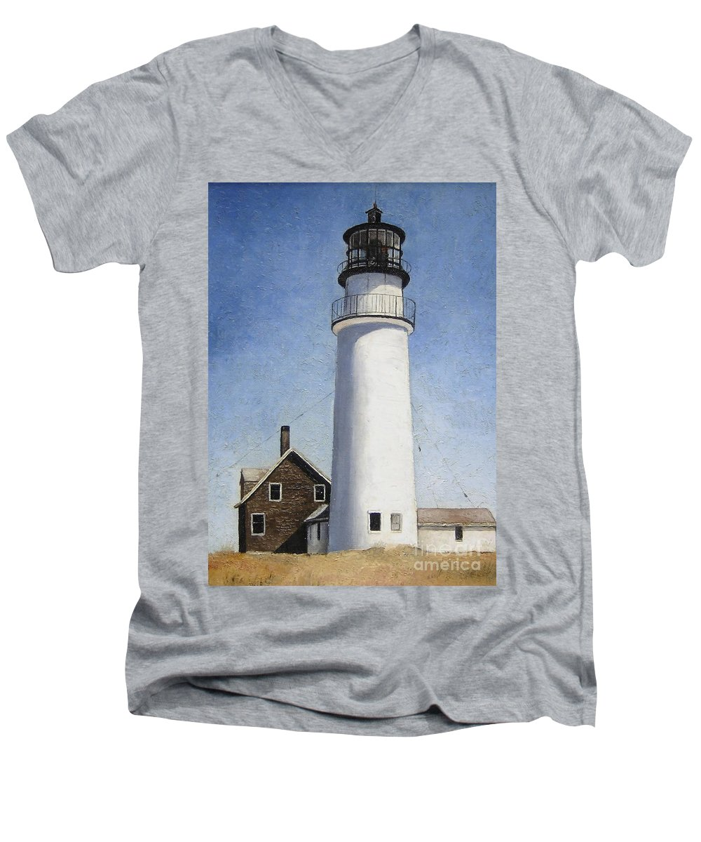 Lighthouse Men's V-Neck T-Shirt featuring the painting Rhode Island Lighthouse by Mary Rogers