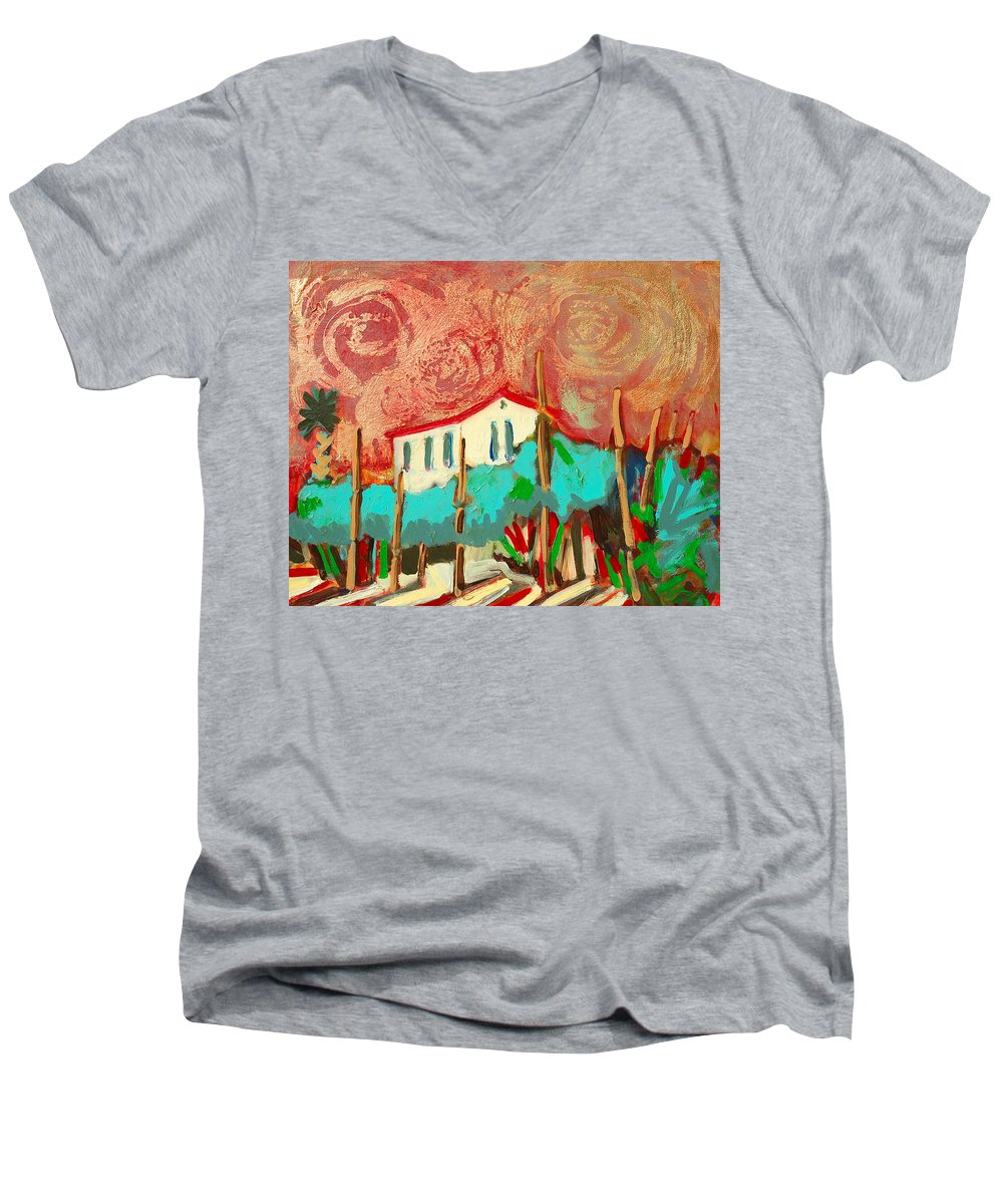Tuscany Men's V-Neck T-Shirt featuring the painting Ricordare by Kurt Hausmann