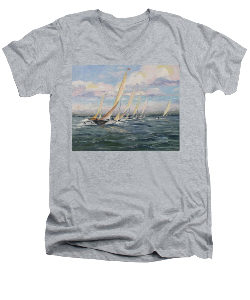 Riding Waves Men's V-Neck T-Shirt featuring the painting Riding The Waves by Jay Johnson