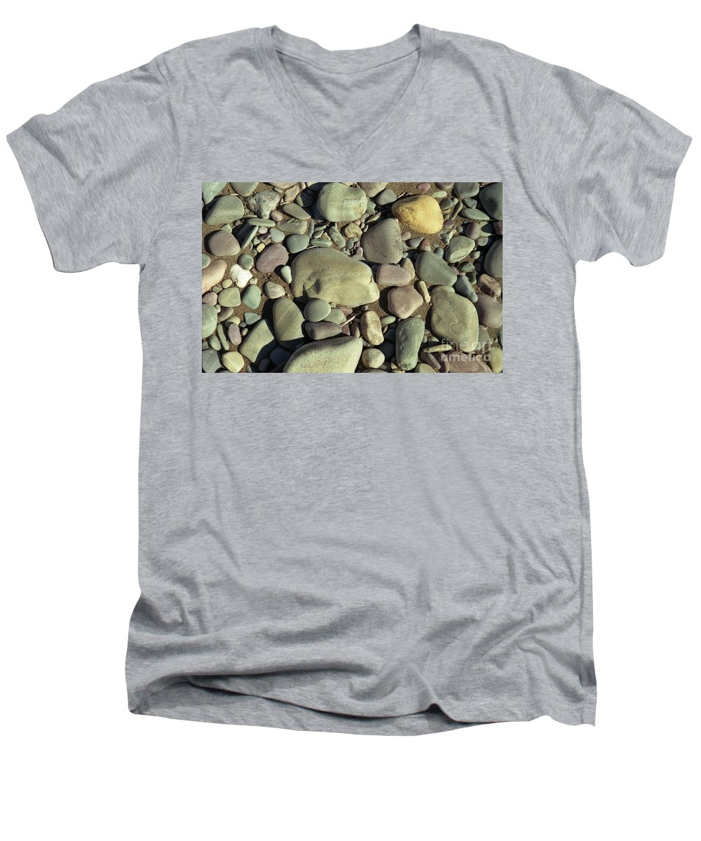 River Rock Men's V-Neck T-Shirt featuring the photograph River Rock by Richard Rizzo