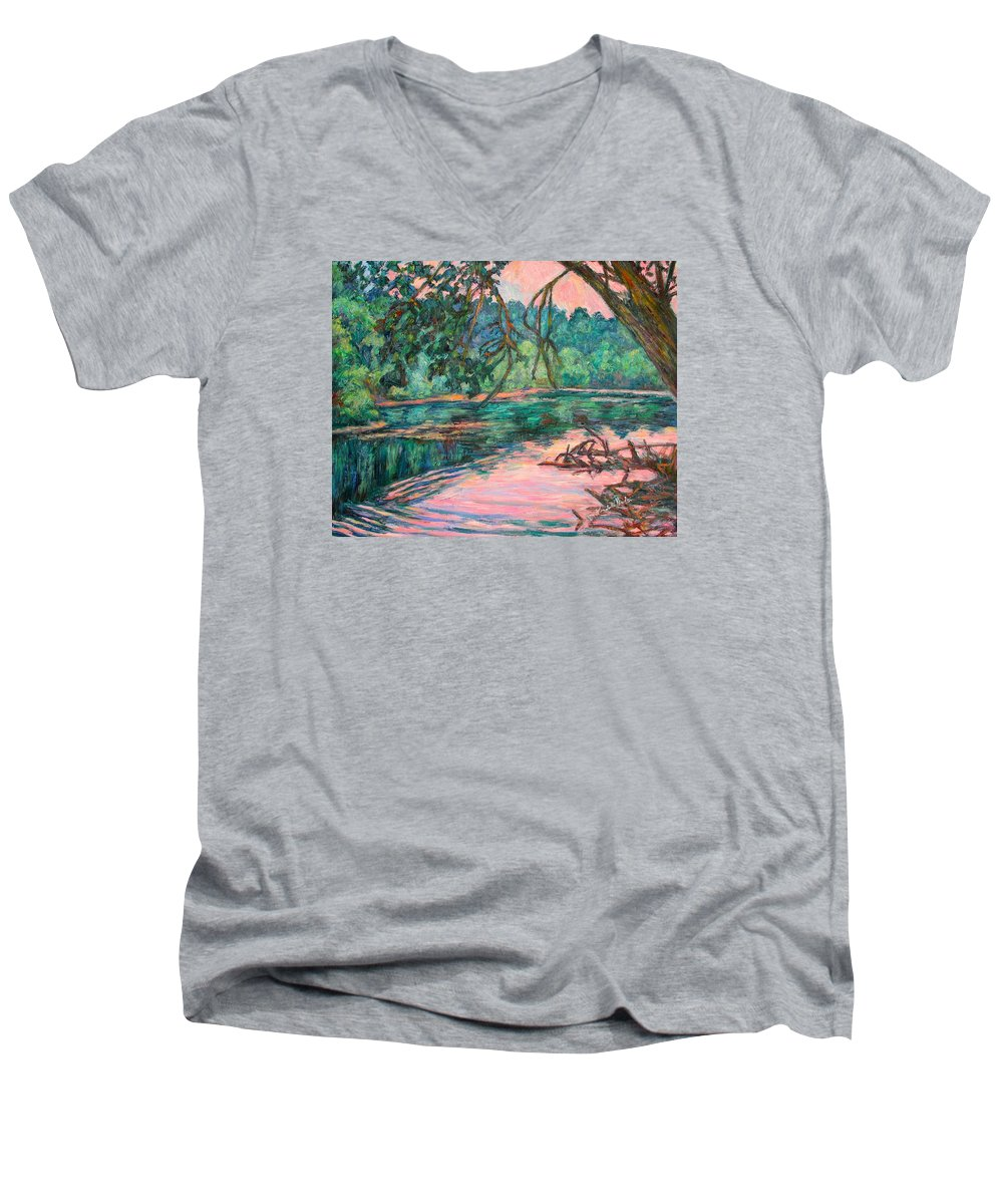 Riverview Park Men's V-Neck T-Shirt featuring the painting Riverview At Dusk by Kendall Kessler