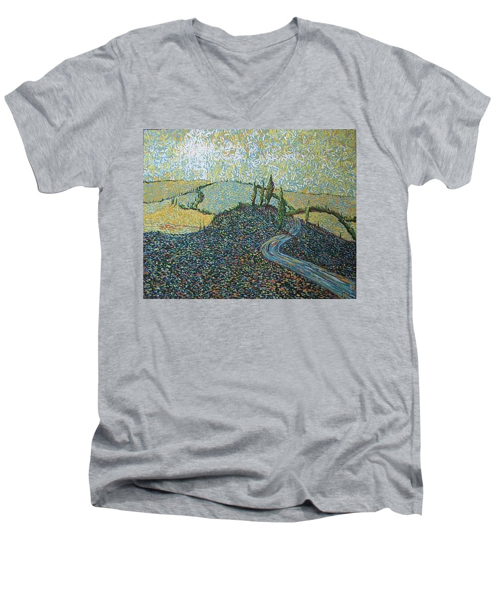 Landscape Men's V-Neck T-Shirt featuring the painting Road To Tuscany by Stefan Duncan