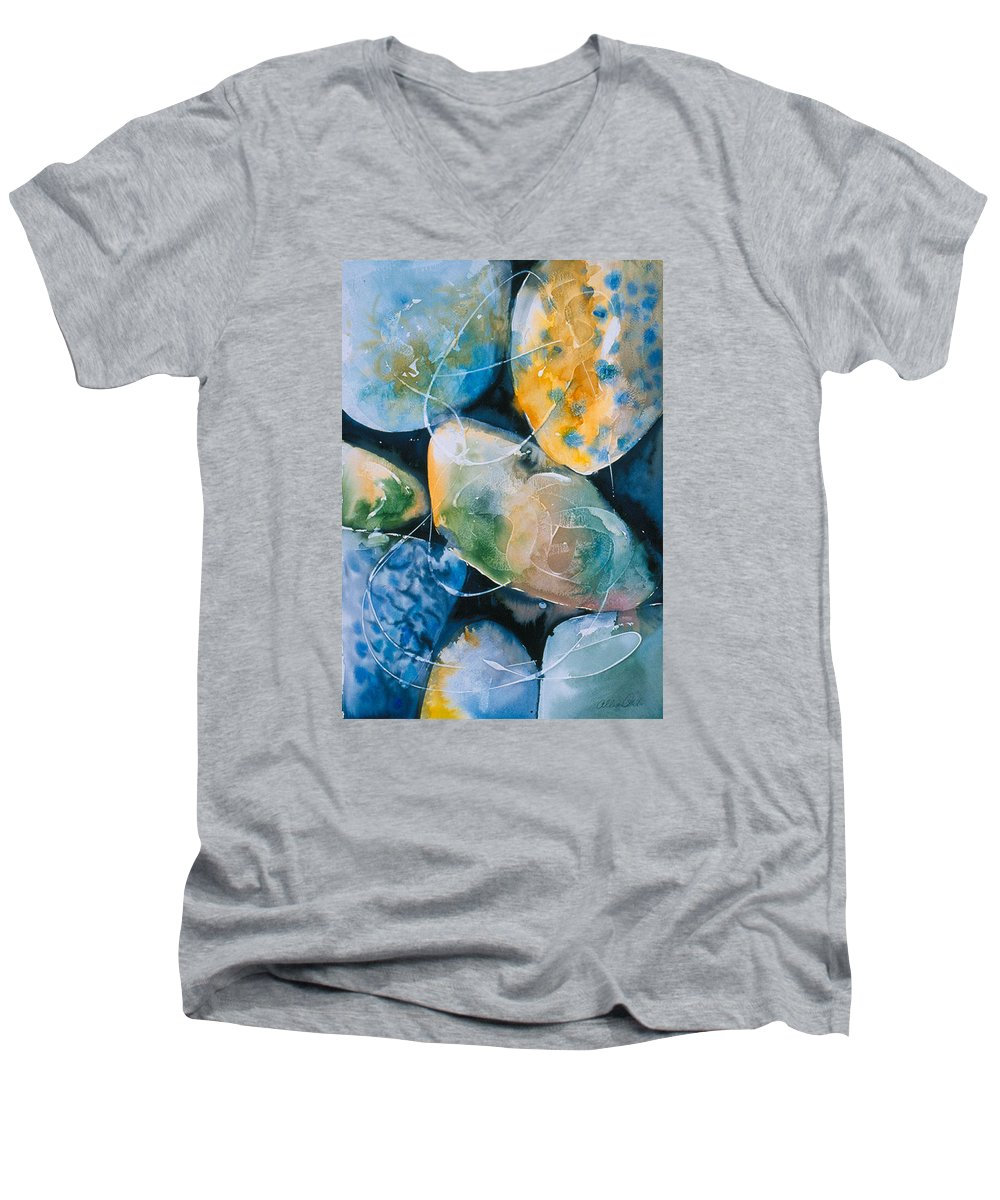 Water Men's V-Neck T-Shirt featuring the painting Rock In Water by Allison Ashton