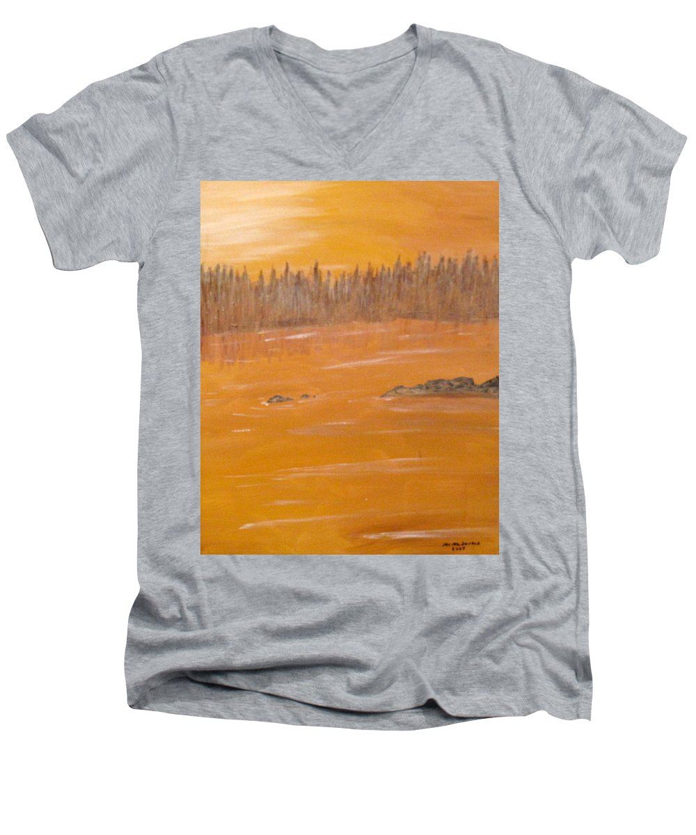 Northern Ontario Men's V-Neck T-Shirt featuring the painting Rock Lake Morning 2 by Ian MacDonald
