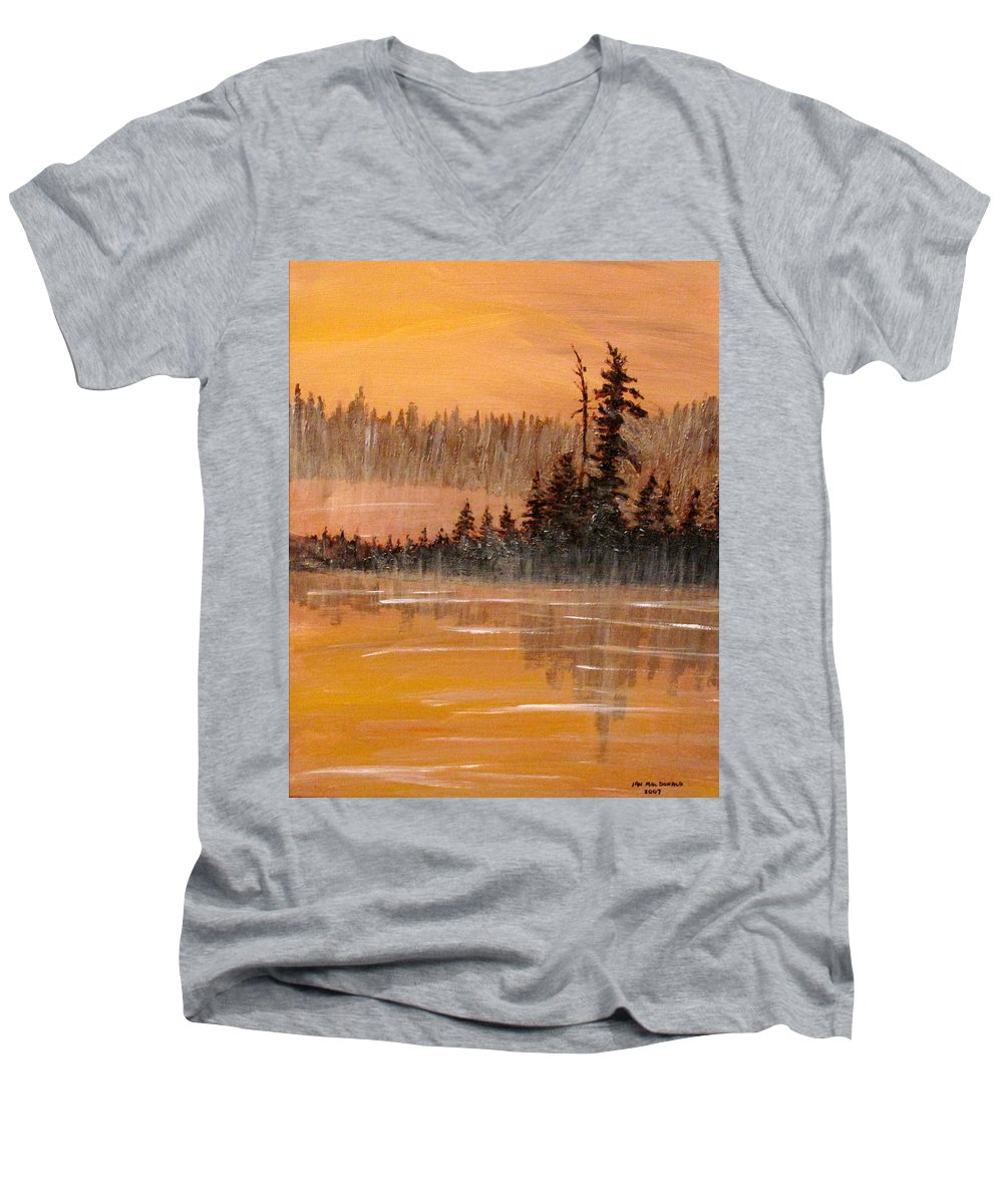 Northern Ontario Men's V-Neck T-Shirt featuring the painting Rock Lake Morning 3 by Ian MacDonald