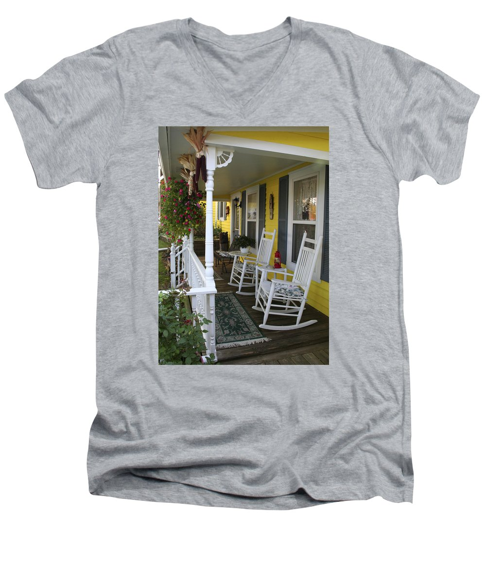 Rocking Chair Men's V-Neck T-Shirt featuring the photograph Rockers On The Porch by Margie Wildblood