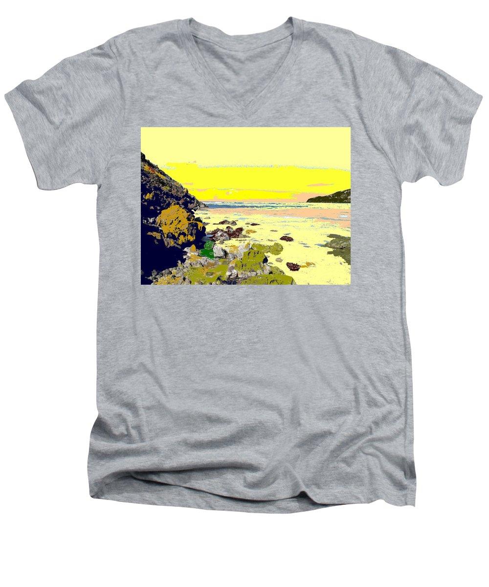 Beach Men's V-Neck T-Shirt featuring the photograph Rocky Beach by Ian MacDonald