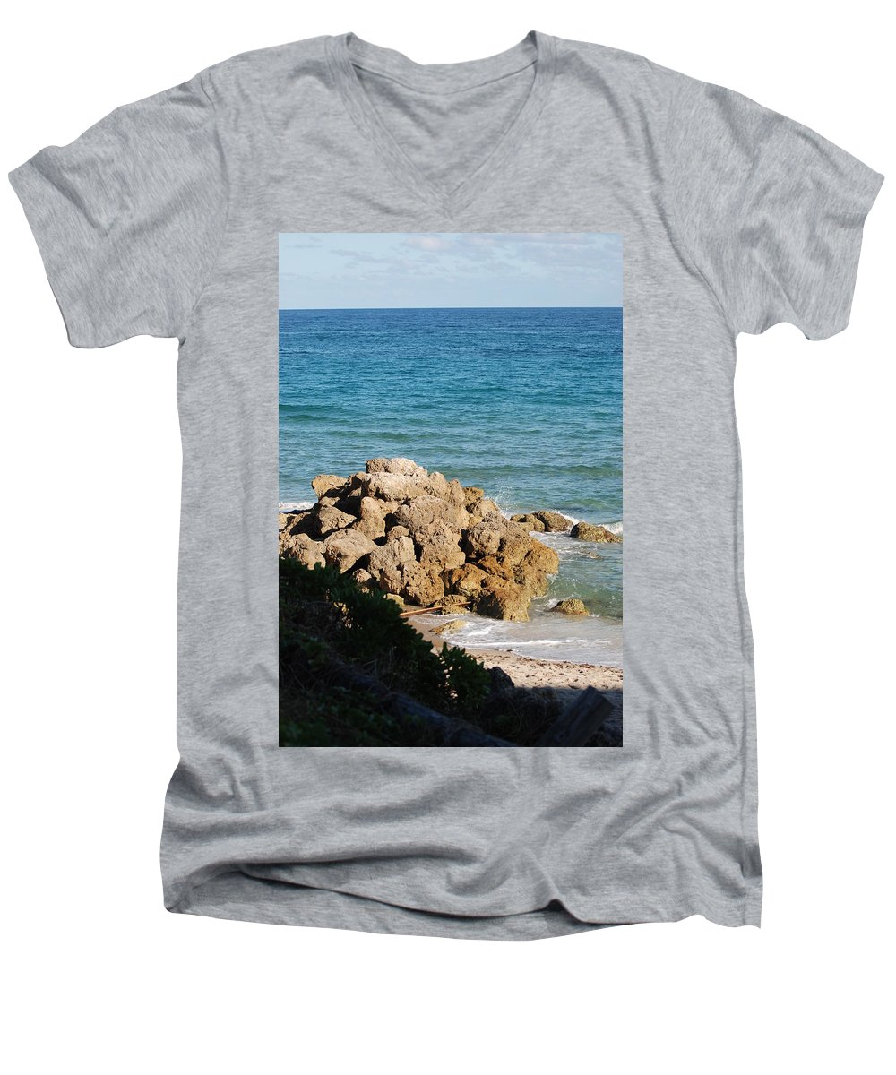 Sea Scape Men's V-Neck T-Shirt featuring the photograph Rocky Shoreline by Rob Hans