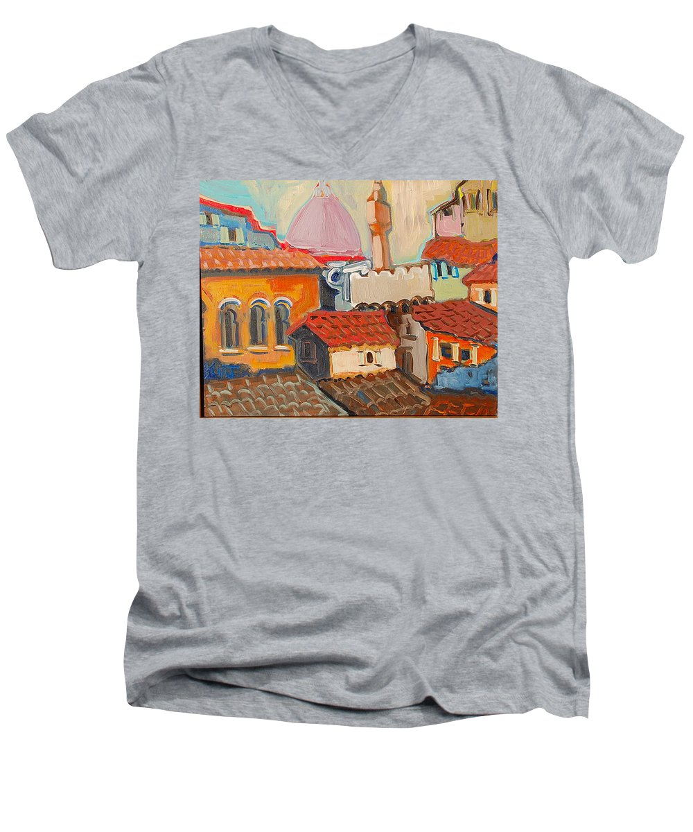 Florence Men's V-Neck T-Shirt featuring the painting Rooftops by Kurt Hausmann