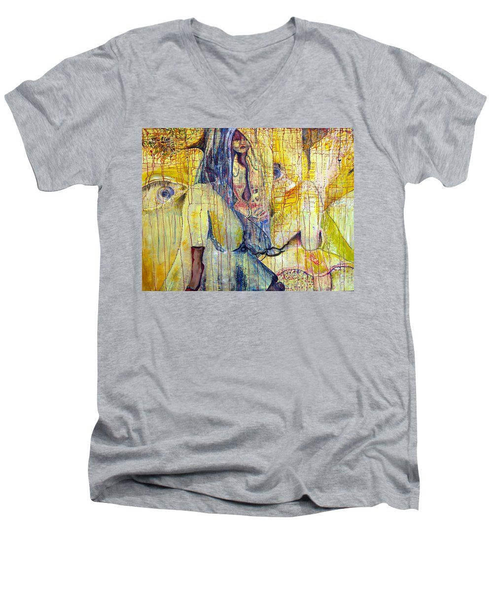 Portrait Men's V-Neck T-Shirt featuring the painting Roots by Peggy Blood