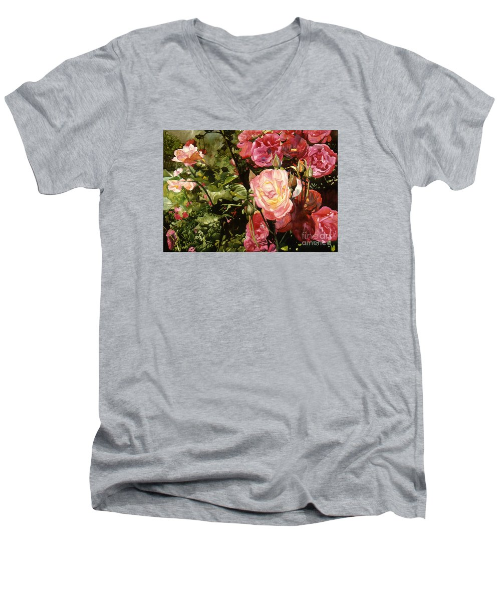 Watercolor Men's V-Neck T-Shirt featuring the painting Rose Garden by Teri Starkweather