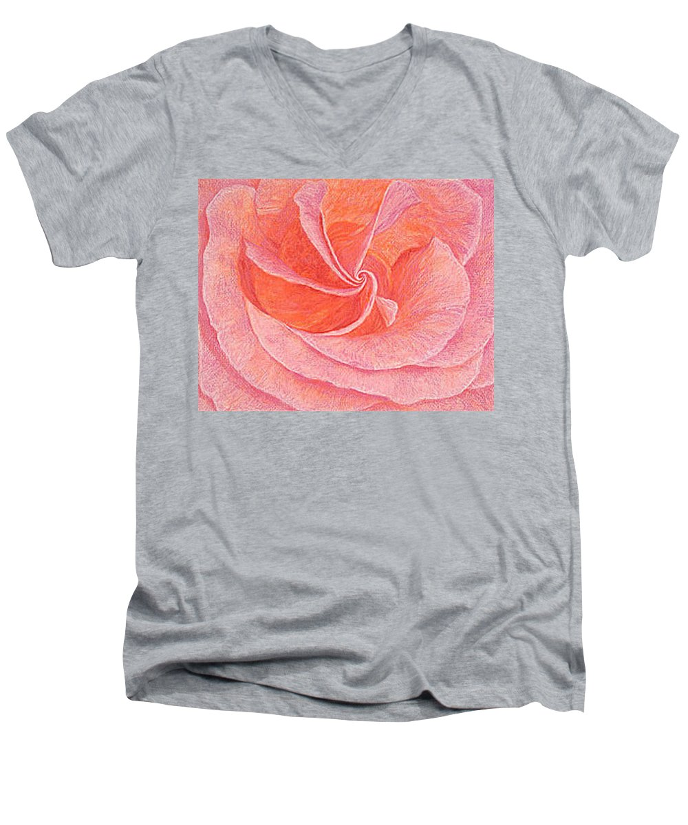 Art Print Prints Fine Giclee Canvas Framed Unframed Rose Pink Roses Garden Floral Flower Flowers Men's V-Neck T-Shirt featuring the drawing Rose Sprial Pink Fine Art Print Giclee Garden Flower Floral Botanical Love Romance by Baslee Troutman