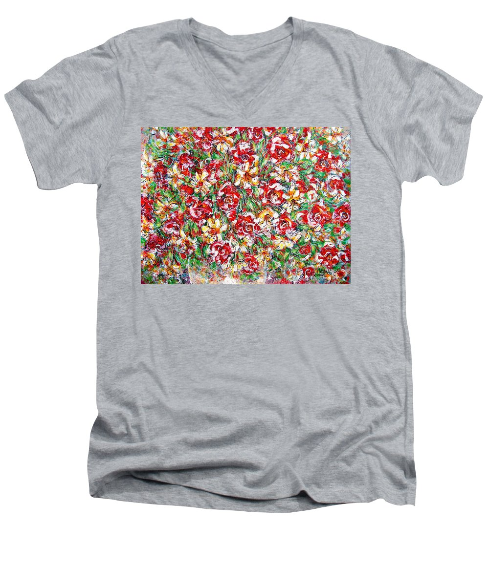 Red Roses Men's V-Neck T-Shirt featuring the painting Roses For You by Natalie Holland