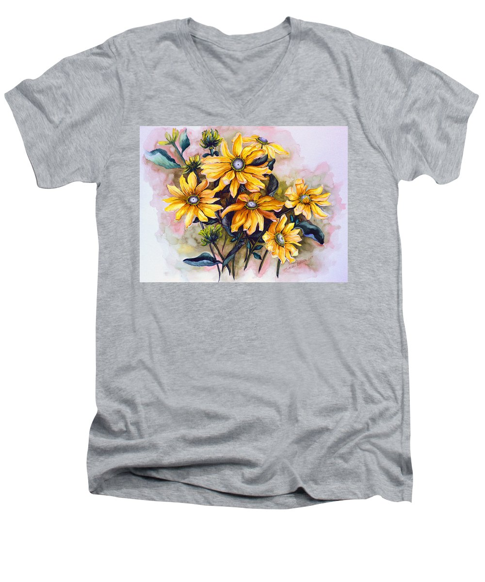 Flower Painting Sun Flower Painting Flower Botanical Painting  Original Watercolor Painting Rudebeckia Painting Floral Painting Yellow Painting Greeting Card Painting Men's V-Neck T-Shirt featuring the painting Rudbeckia Prairie Sun by Karin Dawn Kelshall- Best