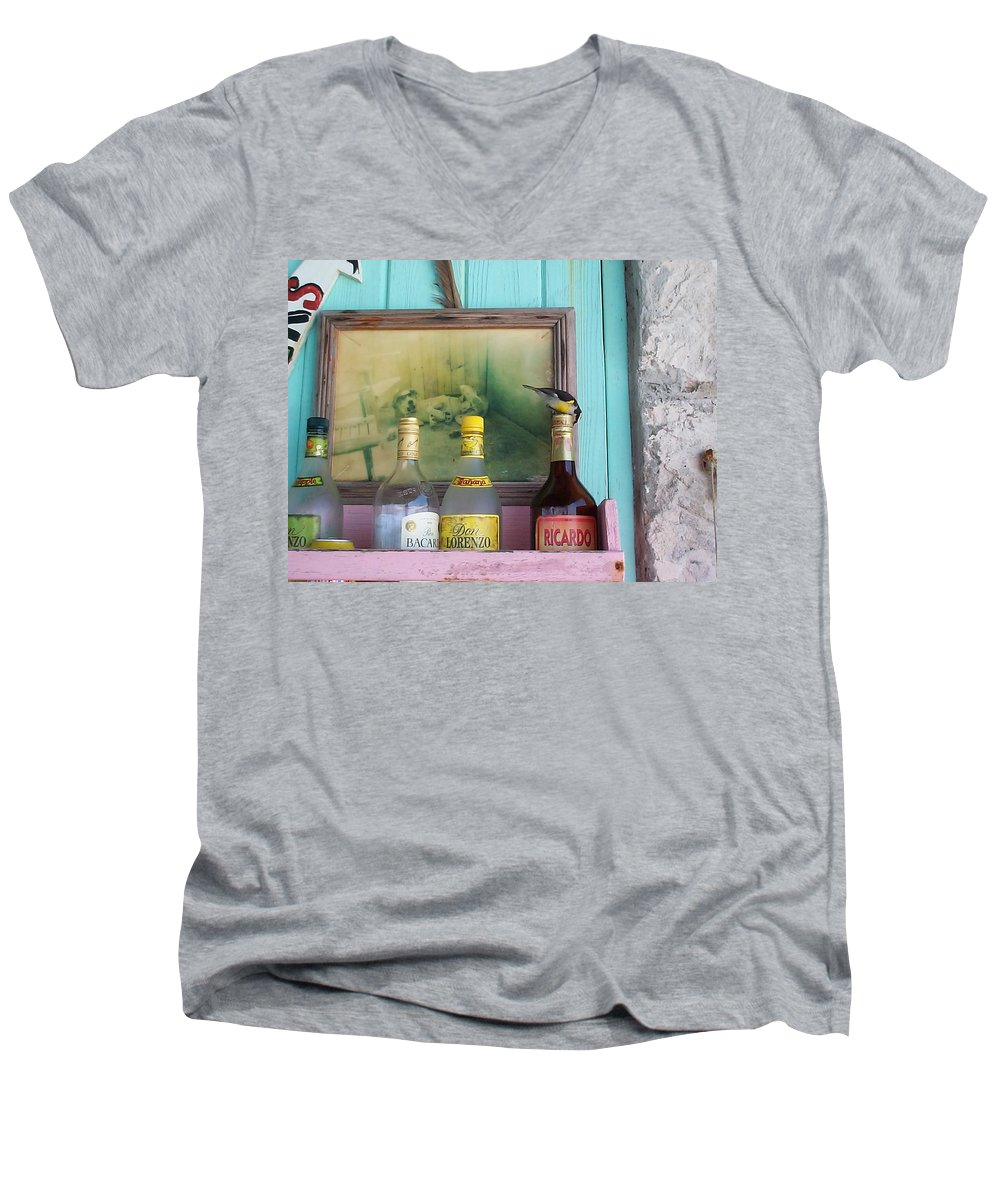Charity Men's V-Neck T-Shirt featuring the photograph Rum Shack Bananaquit by Mary-Lee Sanders