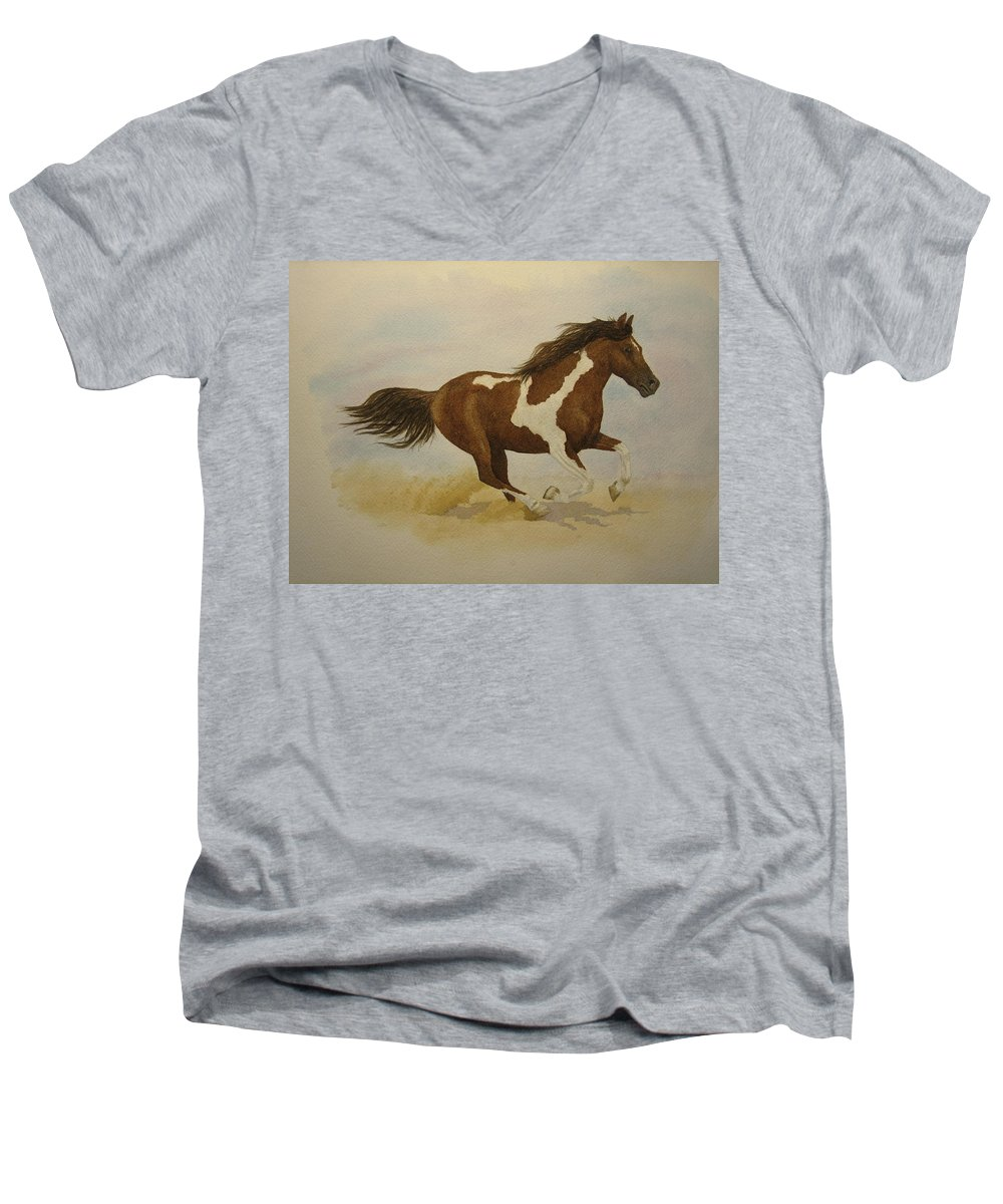 Paint Horse Men's V-Neck T-Shirt featuring the painting Running Paint by Jeff Lucas