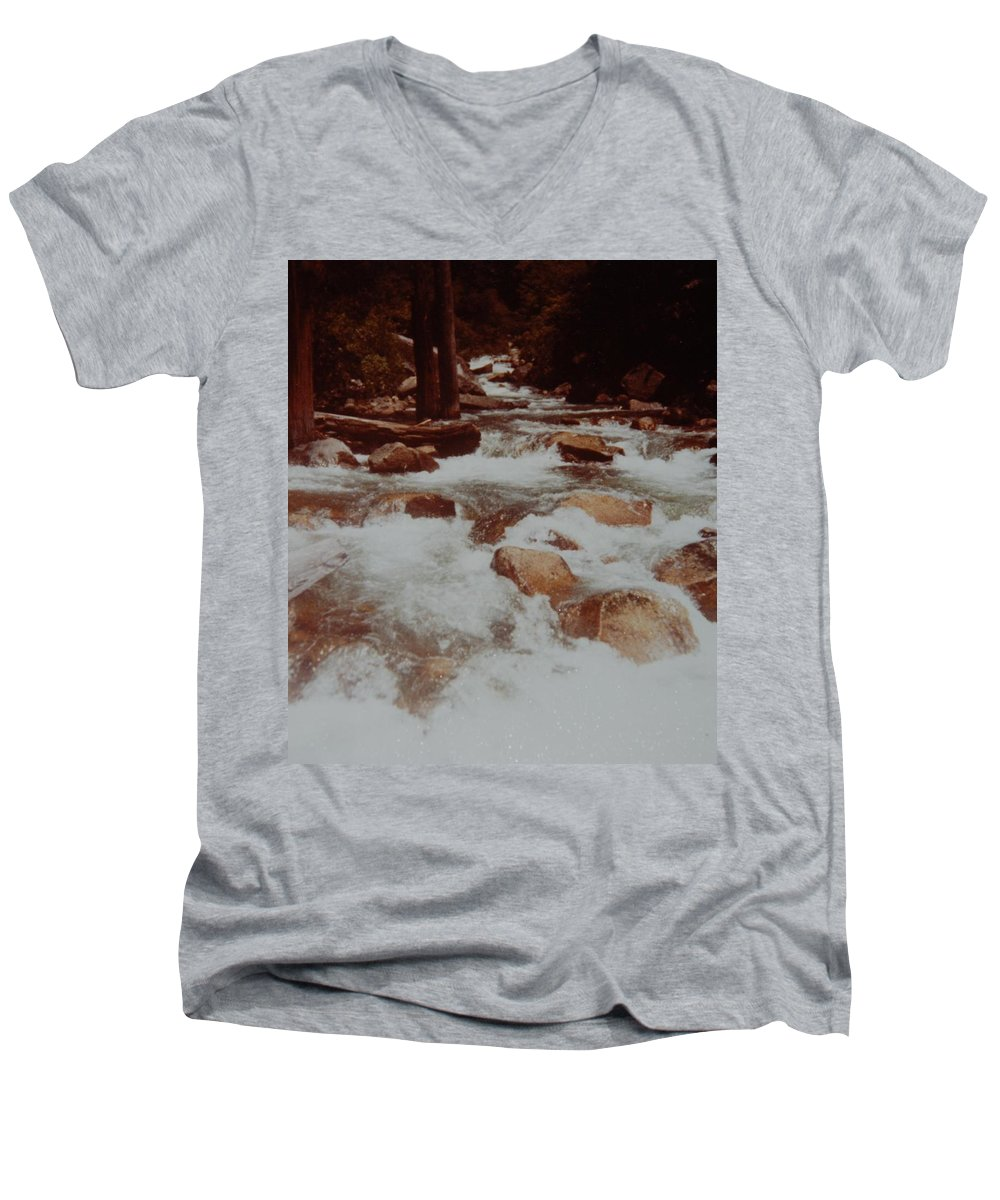 Water Men's V-Neck T-Shirt featuring the photograph Rushing Water by Rob Hans