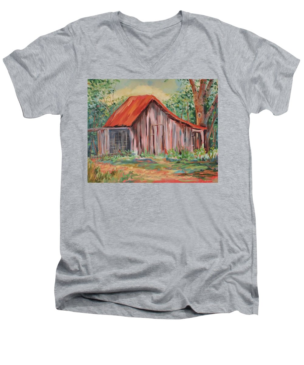 Chicken Coops Men's V-Neck T-Shirt featuring the painting Russel Crow by Ginger Concepcion