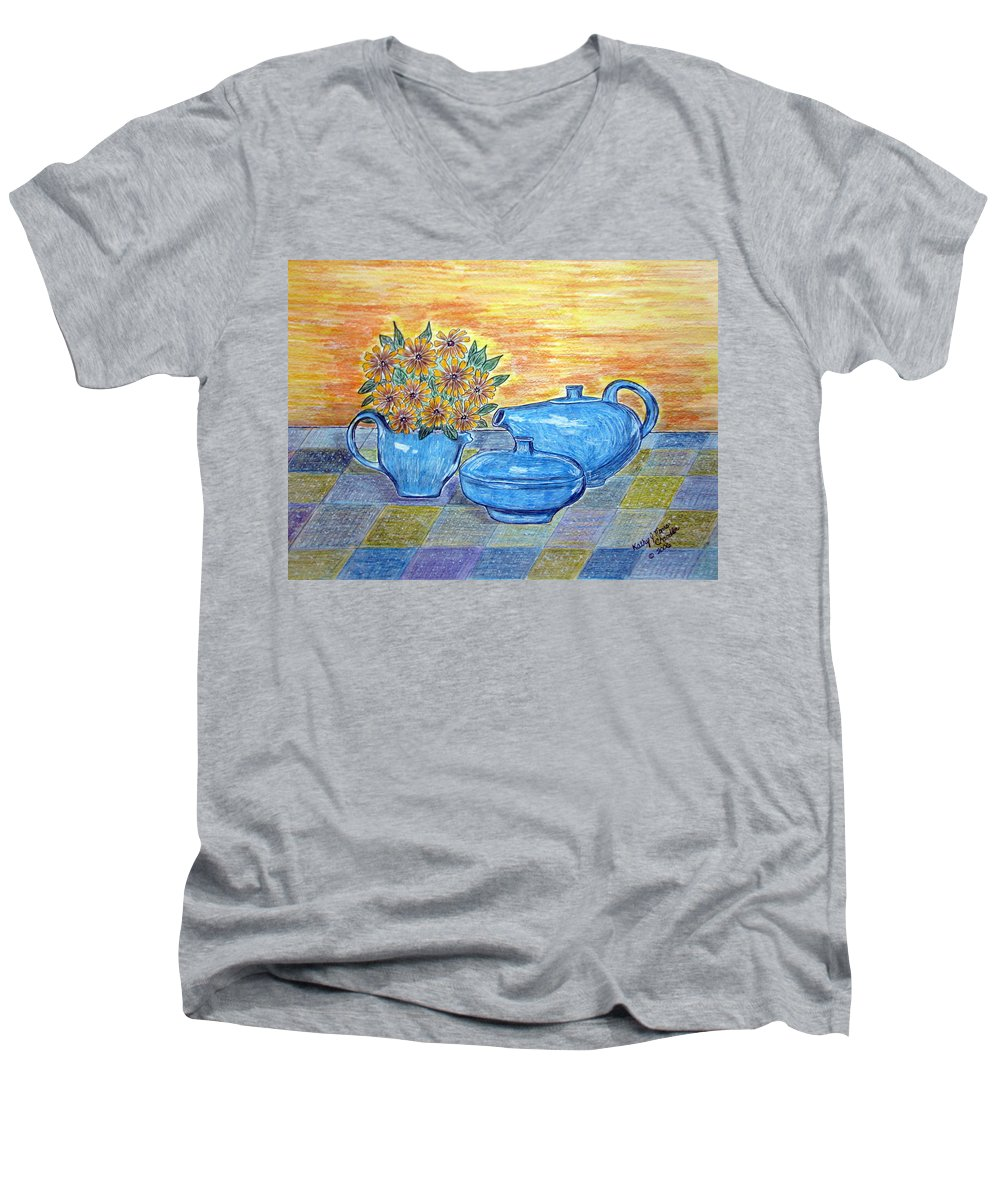 Russell Wright China Men's V-Neck T-Shirt featuring the painting Russel Wright China by Kathy Marrs Chandler