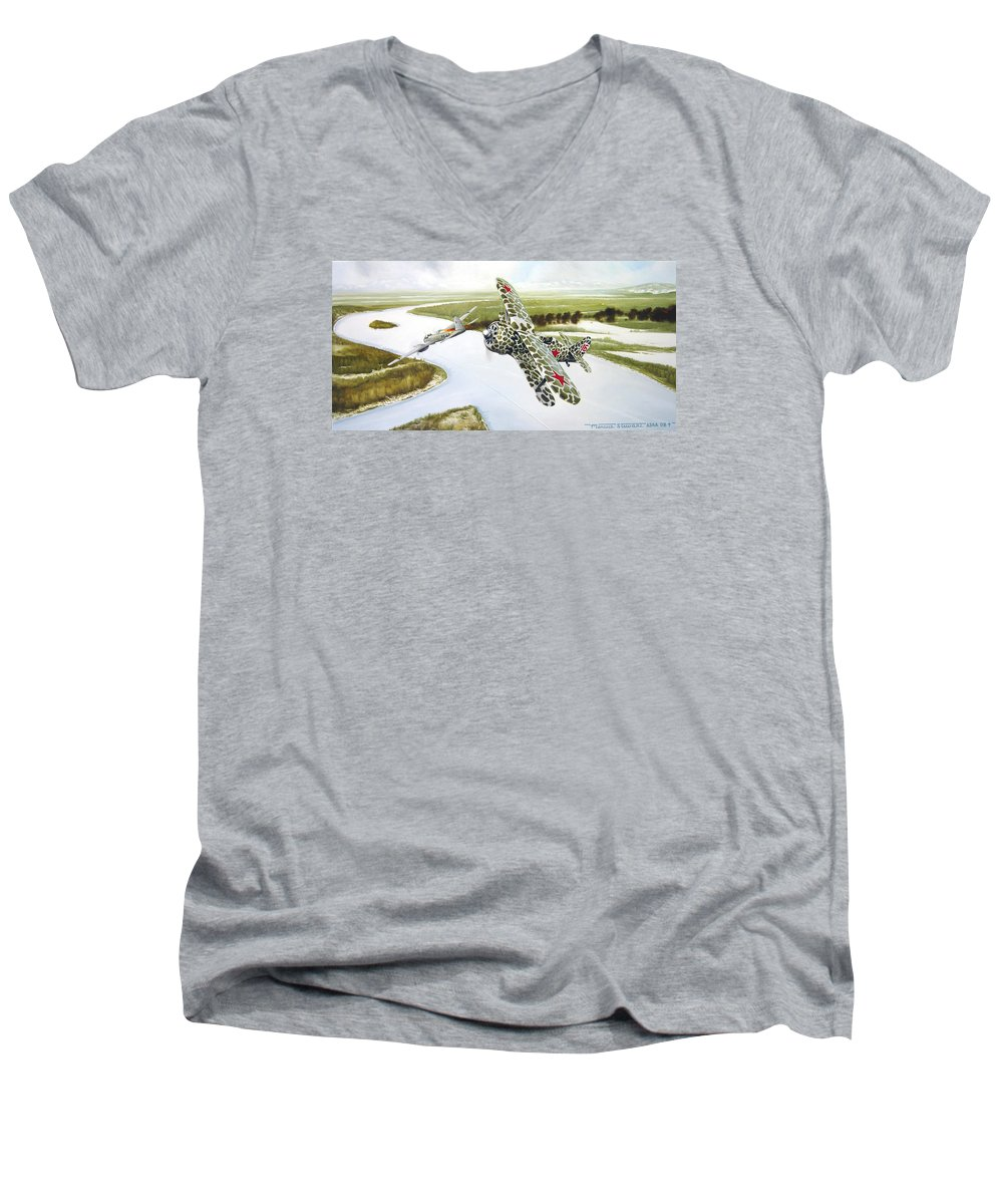 Aviation Men's V-Neck T-Shirt featuring the painting Russian Roulette by Marc Stewart