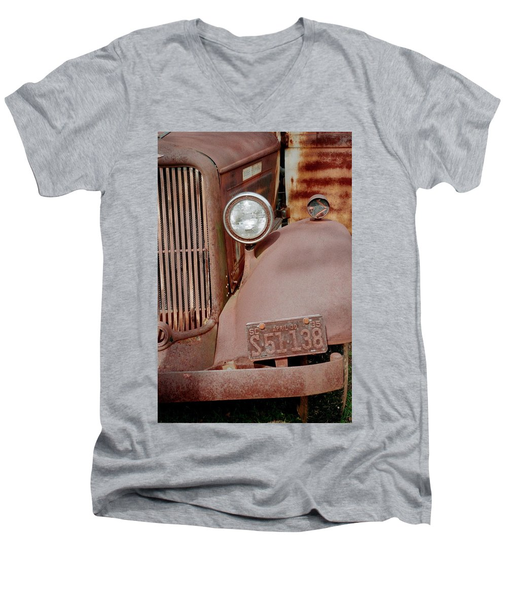 Car Men's V-Neck T-Shirt featuring the photograph Rusty by Flavia Westerwelle