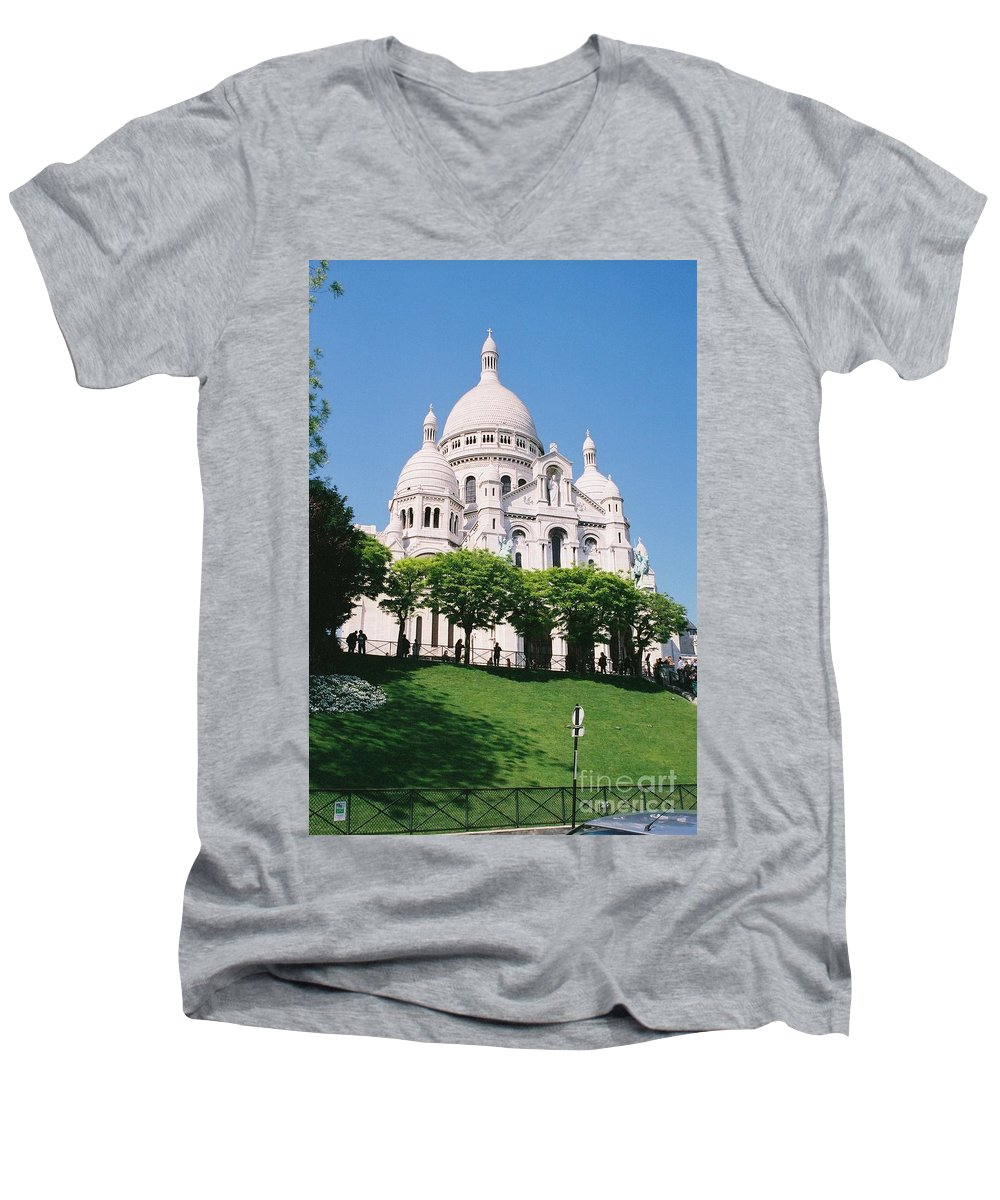 Church Men's V-Neck T-Shirt featuring the photograph Sacre Coeur by Nadine Rippelmeyer