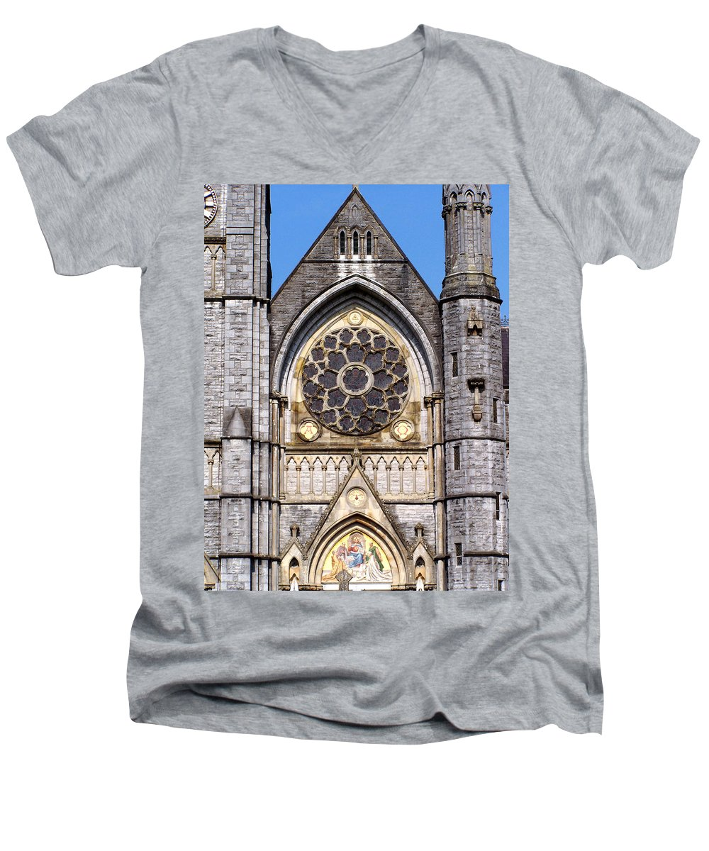 Ireland Men's V-Neck T-Shirt featuring the photograph Sacred Heart Church Detail Roscommon Ireland by Teresa Mucha