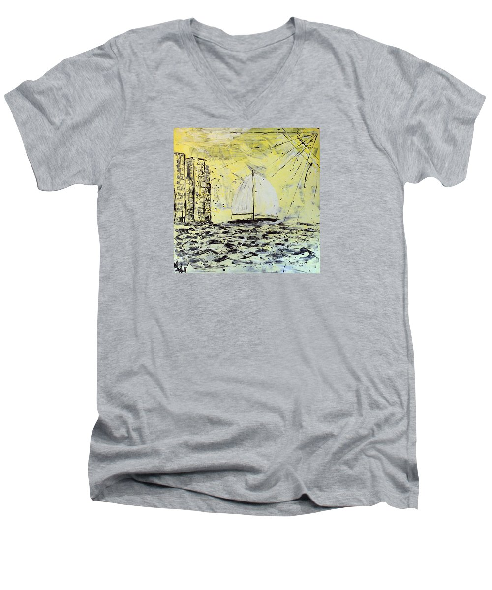 Abstract Men's V-Neck T-Shirt featuring the painting Sail And Sunrays by J R Seymour