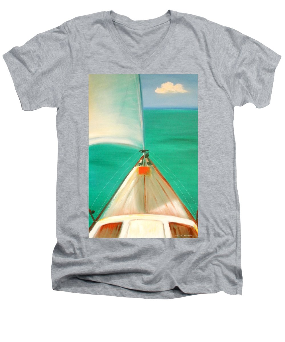 Sea Men's V-Neck T-Shirt featuring the painting Sailing by Gina De Gorna