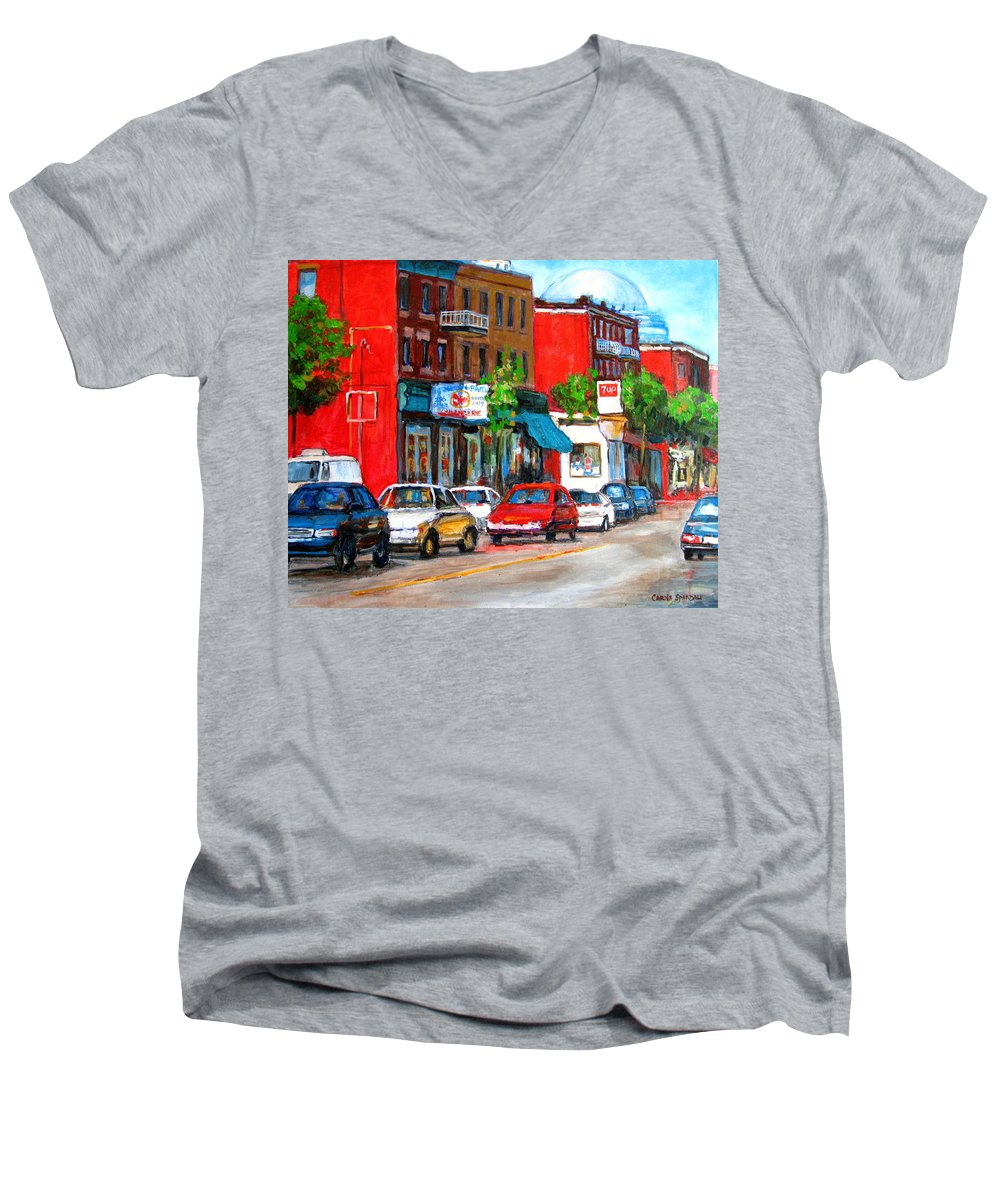 St.viateur Bagel Men's V-Neck T-Shirt featuring the painting Saint Viateur Street by Carole Spandau