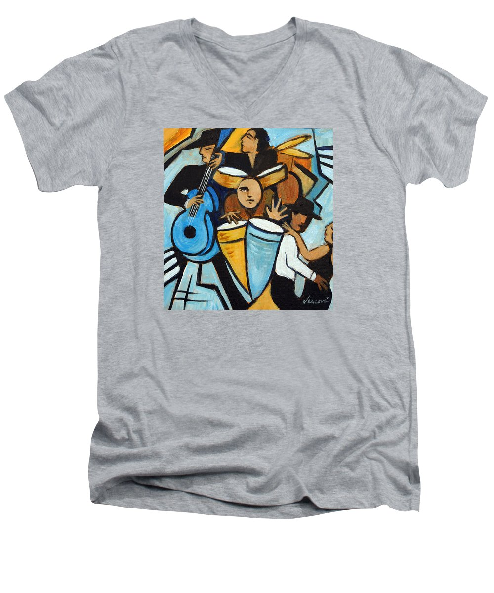 Cubist Salsa Dancers Men's V-Neck T-Shirt featuring the painting Salsa Night by Valerie Vescovi