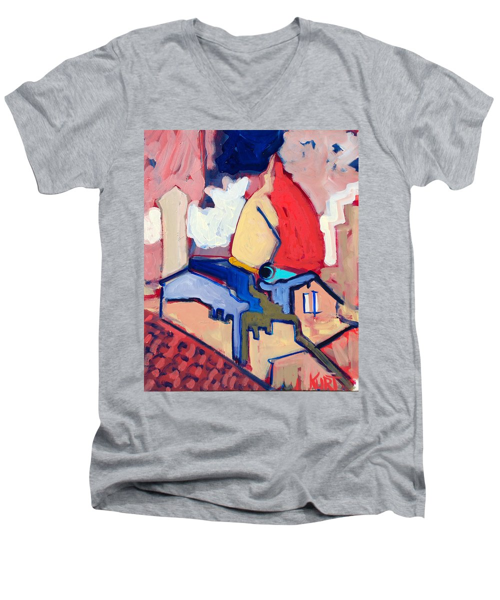 Florence Men's V-Neck T-Shirt featuring the painting Salutare by Kurt Hausmann