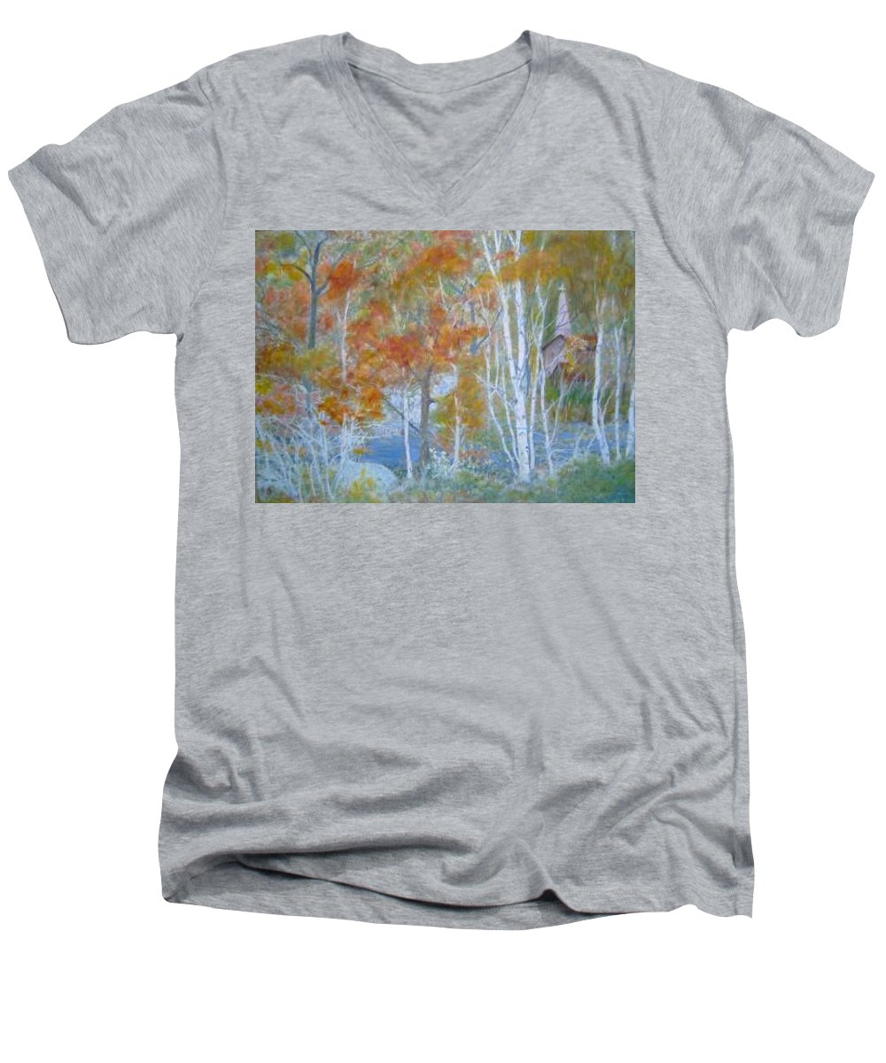 Church; Landscape; Birch Trees Men's V-Neck T-Shirt featuring the painting Sanctuary by Ben Kiger