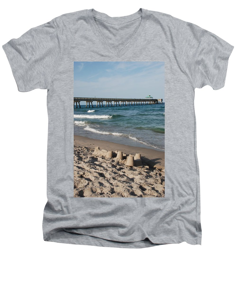 Sea Scape Men's V-Neck T-Shirt featuring the photograph Sand Castles And Piers by Rob Hans