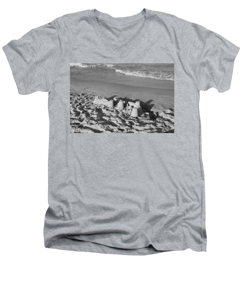 Sea Scape Men's V-Neck T-Shirt featuring the photograph Sand Castles By The Shore by Rob Hans