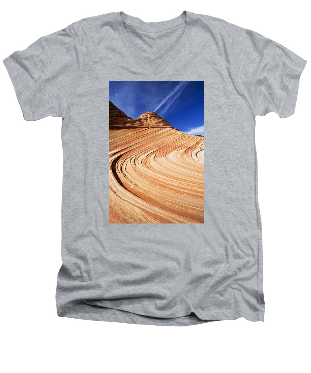 The Wave Men's V-Neck T-Shirt featuring the photograph Sandstone Slide by Mike Dawson