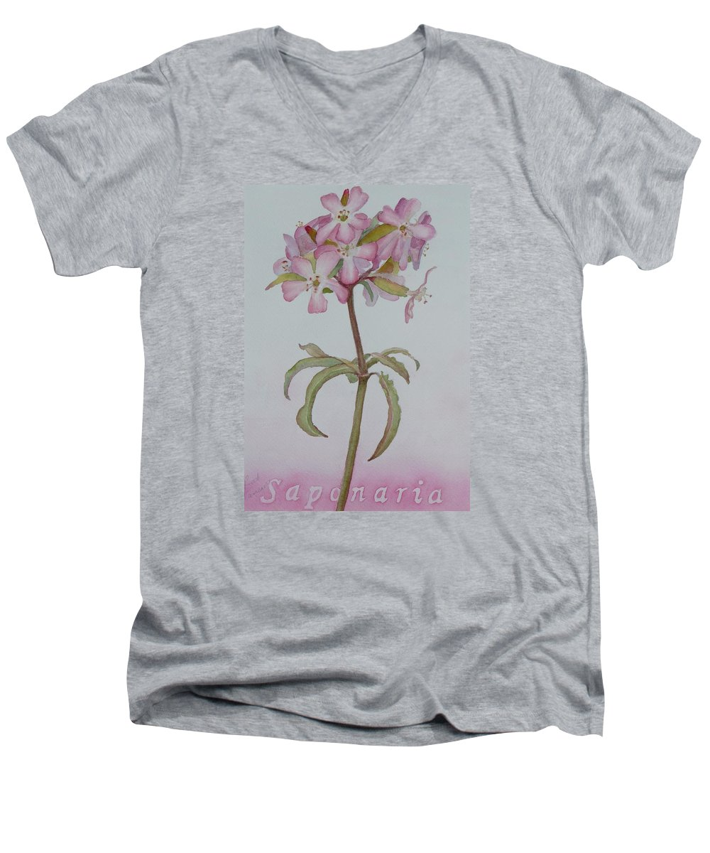 Flower Men's V-Neck T-Shirt featuring the painting Saponaria by Ruth Kamenev