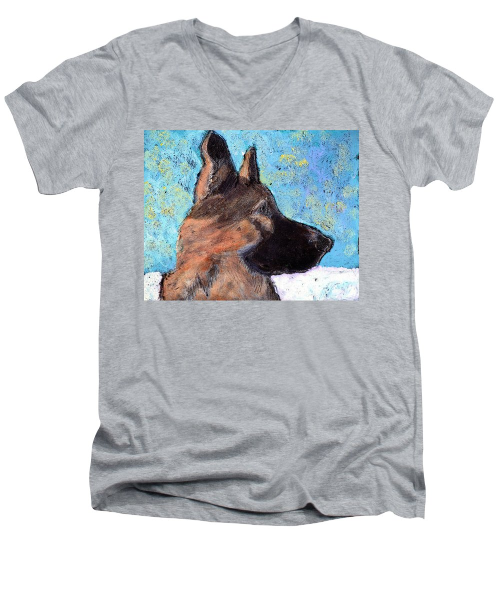 Dog Men's V-Neck T-Shirt featuring the painting Sarge II by Wayne Potrafka