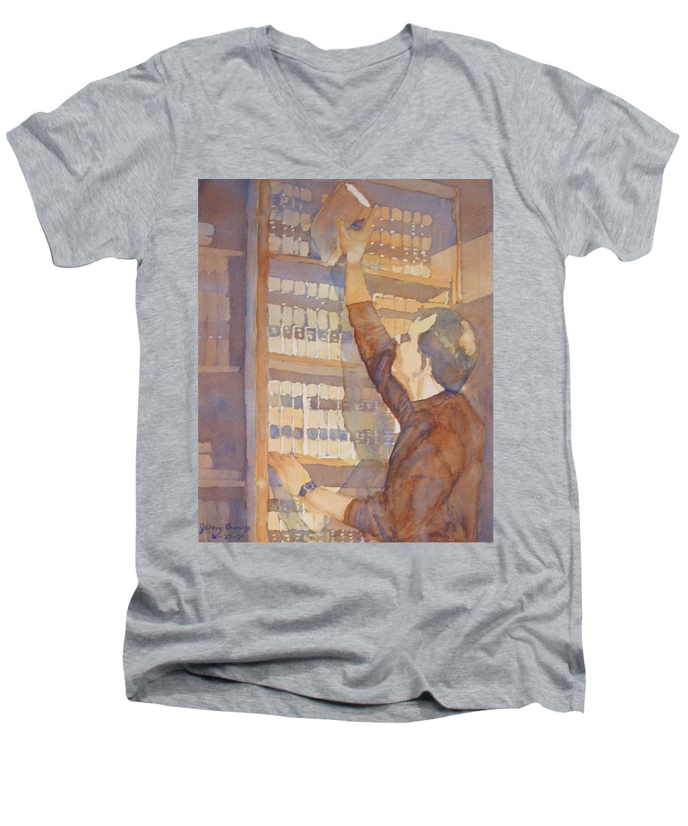 Law Men's V-Neck T-Shirt featuring the painting Saturday At The Office by Jenny Armitage
