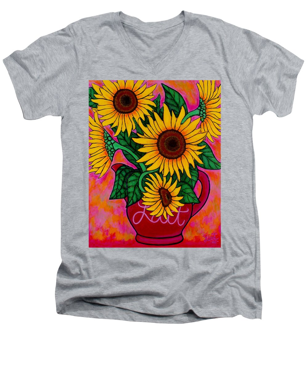 Sunflowers Men's V-Neck T-Shirt featuring the painting Saturday Morning Sunflowers by Lisa Lorenz