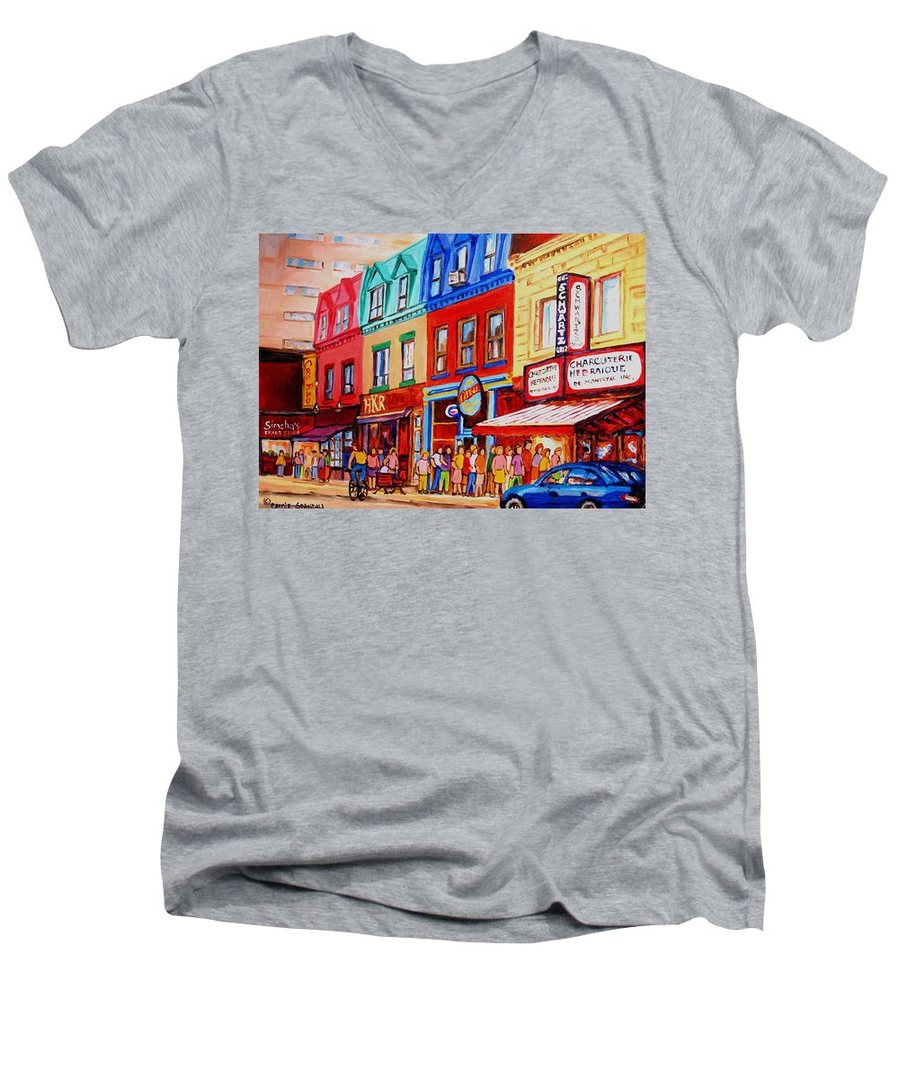 Cityscape Men's V-Neck T-Shirt featuring the painting Schwartz Lineup With Simcha by Carole Spandau