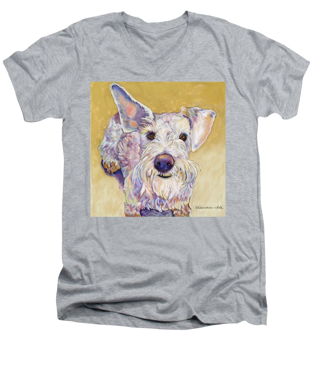 Schnauzer Men's V-Neck T-Shirt featuring the pastel Scooter by Pat Saunders-White