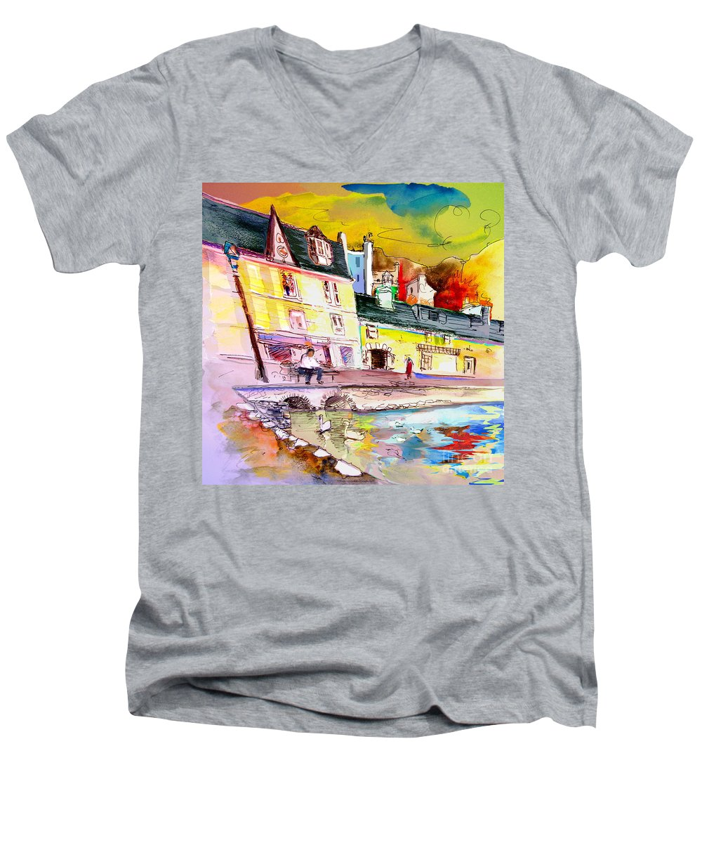 Scotland Paintings Men's V-Neck T-Shirt featuring the painting Scotland 04 by Miki De Goodaboom