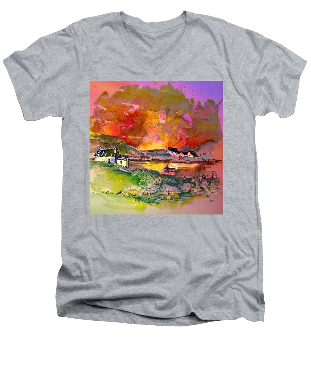 Scotland Paintings Men's V-Neck T-Shirt featuring the painting Scotland 07 by Miki De Goodaboom