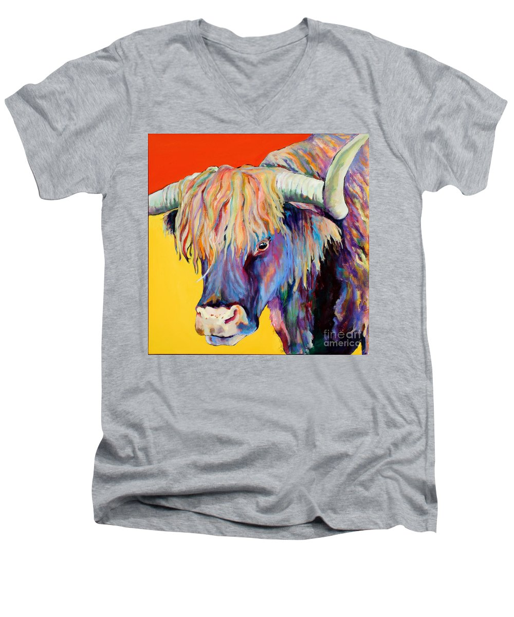 Farm Animal Men's V-Neck T-Shirt featuring the painting Scotty by Pat Saunders-White